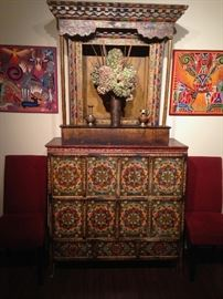 19th Century Tibetan large temple cabinet with altar atop with colorful mandala painting