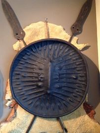 Large hippopotamus shield. Embossed decoration of half-balls and parallel lines, Ethiopia - 1940s or earlier