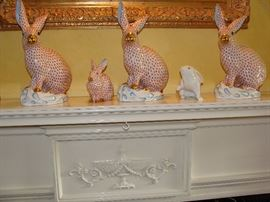 Collection of Herend Hungarian Porcelain Rabbits hand painted