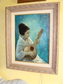 "Richard Earl Thompson original oil on canvas ""GIRL WITH LUTE"" 18"" X 24"" ca 1965"