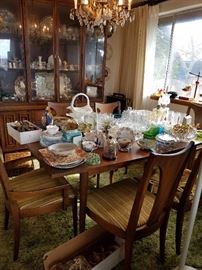 Mid-century dining table and hutch