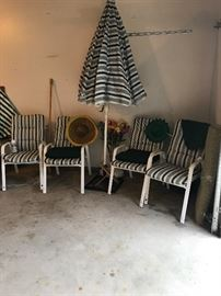 Nice Patio Chairs and umbrella! Summer will be here before you know it!