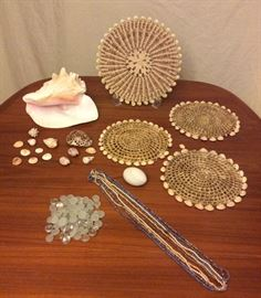 JYR006 Real Seashells, Trivets, Flat Marbles, Necklaces