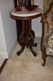 Beautiful Marble Top End Table with Ornate Scrolled Pedestal ( a pair of these! )