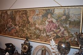 Beautiful Antique Tapestry at least 5' in length