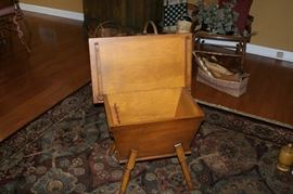 Early American maple sewing box with legs