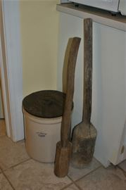 Crock (#5) with wooden lid and 2 wooden tampers