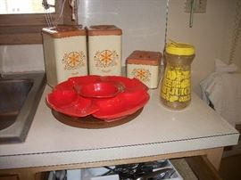 canister set and vintage tray