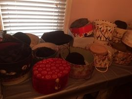 Ladies hat and cap collection and hat boxes