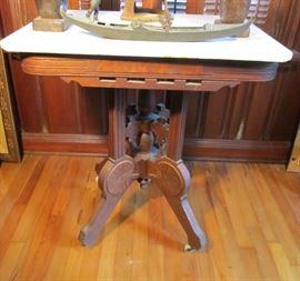 American Renaissance Revival walnut marble-top parlor table