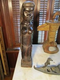 """One of a pair on early ebony African Carved Mermaids 18"""" high. rare subject matter"""
