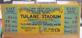 pair of 1935 Sugar Bowl ticket stubs Tulane won first Sugar Bowl 14 to 10