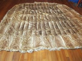 Hand made rabbit pelt rug 8ft by9ft. Believe to be American Indian made
