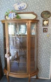 C. 1900 display cabinet w/convex glass.  English oak.
