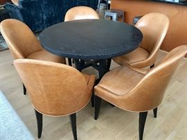 (8) Leather Chairs and Gerard Wood Dining Table