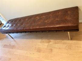 Contemporary leather/wood tufted bench