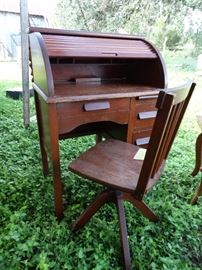 Child's Size Roll Top Desk and Chair
