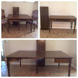 Large Walnut Dining Table w/ 4 Leaves. Seats 12. Can condense down to a desk.