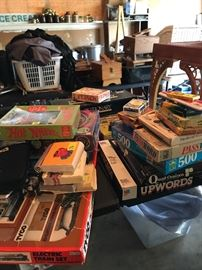 Vintage Tyco train set and vintage games