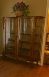 RARE double curved glass door oak China cabinet