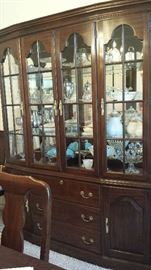 Cherry china cabinet is not for sale. Contents will be for sale: silver plate, pattern and milk glass, Limoges