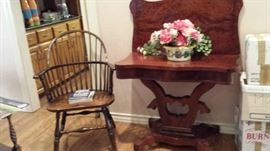 Windsor back chair, lift top game table