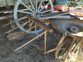 Handcrafted antique hay rake.