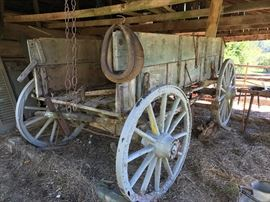 Old wagon, collars, harness, etc.