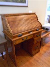 Beautiful Oak Roll Top Desk
