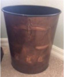 copper trash bin  law themed