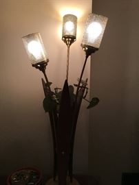 MID-CENTURY 3 LIGHT /TEAK LAMPS (2)