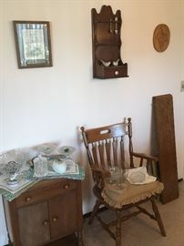 DINING SET: PADS, LEAVES, ONE ARM CHAIR (4 Chairs). COLLECTOR-SPOON WALL DISPLAY ….