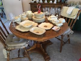 """DINING TABLE, 4 CHAIRS (one w/arms). VINTAGE CHINA SET """"CROWN DUCOL"""" England … CUT CRYSTAL GOBLETS …."""