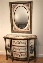 Fun hand painted console cabinet with matching mirror