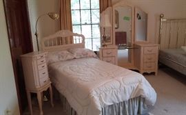 Beautiful princess style bedroom suite. Jewelry case twin bed and dresser. All free priced at $250. Mattress and springs like new included.
