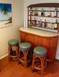 Mid-Century Bamboo Tiki Bar with 3 matching stools