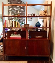 Mid-century free-standing bookshelf with cabinets