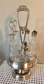 Antique Victorian 5-bottle etched cruet set meridian silver plate. Circa 1880's.