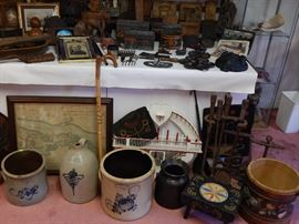 A Pa Dutch cricket stool,early nautical andirons and fireplace set and a Quebec trinket stand,etc.