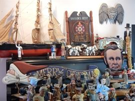 "Antique ""Andrew Jackson"" ship model , 1920's Circus wagon and wooden Santa banner,etc."