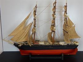 Circa 1930's handmade folk art ship model with cloth sales of the Andrew Jackson-good condition