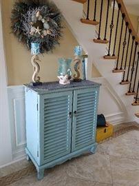 nautical decor,  turquoise cabinet