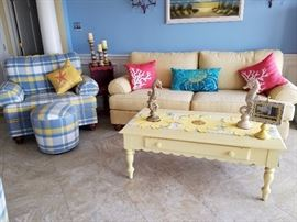 2  matching upholstered chairs, ottomans & sofa, cottage style coffee table