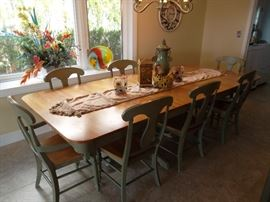 farm table style dining table with 8 chairs