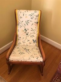 #3	wood fabric cream color rocker 	 $65.00