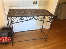 #10	wicker and metal sofa table 35x15x31	 $75.00