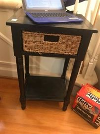 #11	end table black w wicker drawer 17x13x30	 $75.00