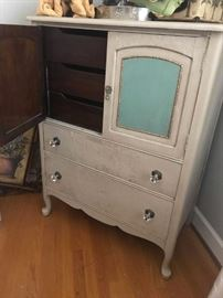 #14tan/green painted cabinet w door and drawers 36x20x47 $175.00