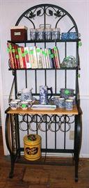 Baker's metal rack with wood shelf and wine rack.