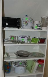 The toaster oven, blender and a few of the other kitchen items.